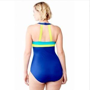 Lands End 18 2X  1pc Swim Suit Blue Yellow Aqua